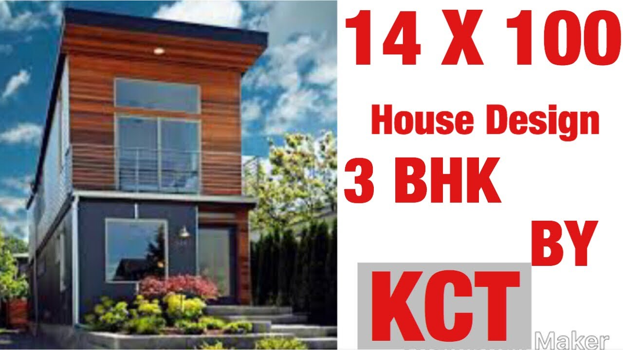 Download 14 x 100 Sq Ft ,  House Design , House Plan Map, 3 BHK, With Car Parking , 150 gaj