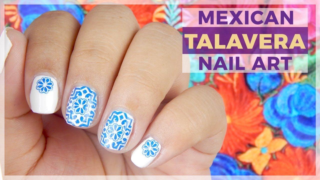 Mexican Talavera Nail Art Design Youtube
