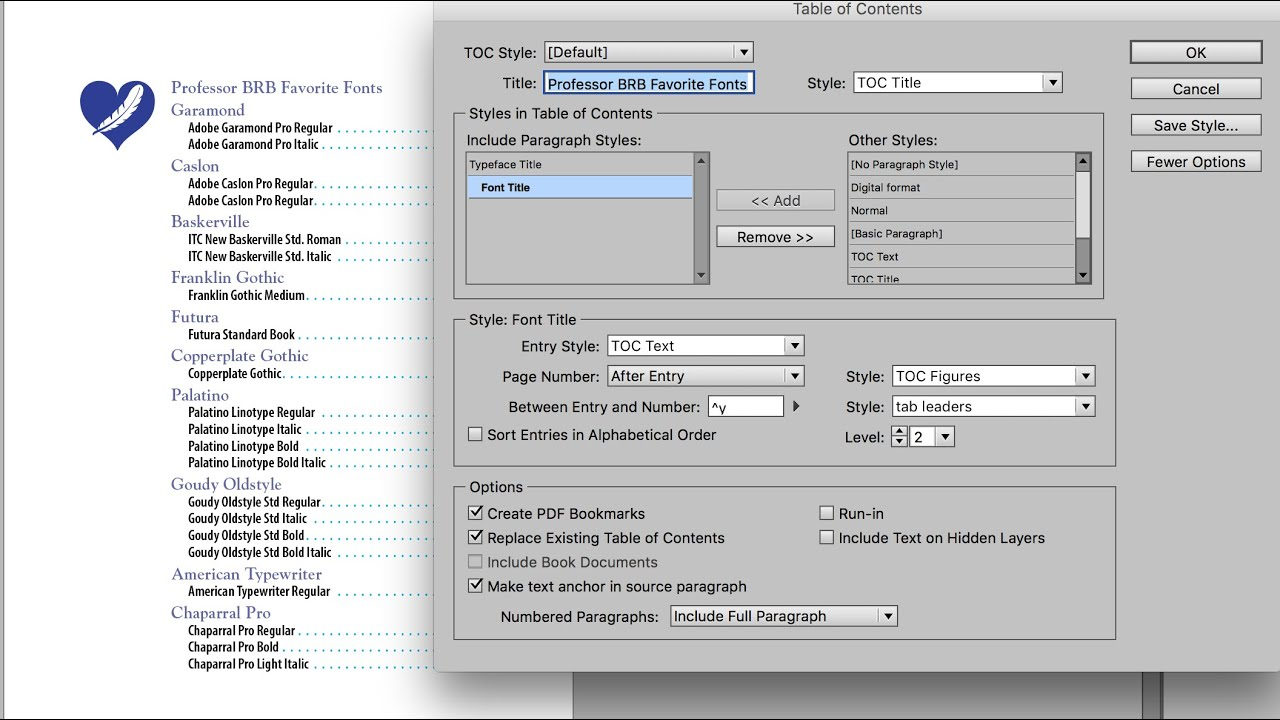06 Creating A Table Of Contents Indesign Cc Youtube