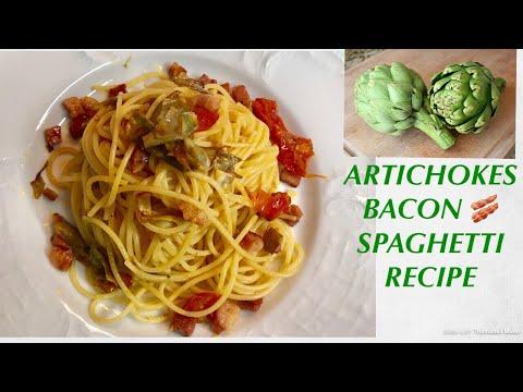 Very Tasty Artichokes And Bacon Spaghetti 🍝 Healthy Recipe #spghettirecipe#italianrecipe#healthy