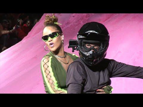 Rihanna rides into NY Fashion Week in style