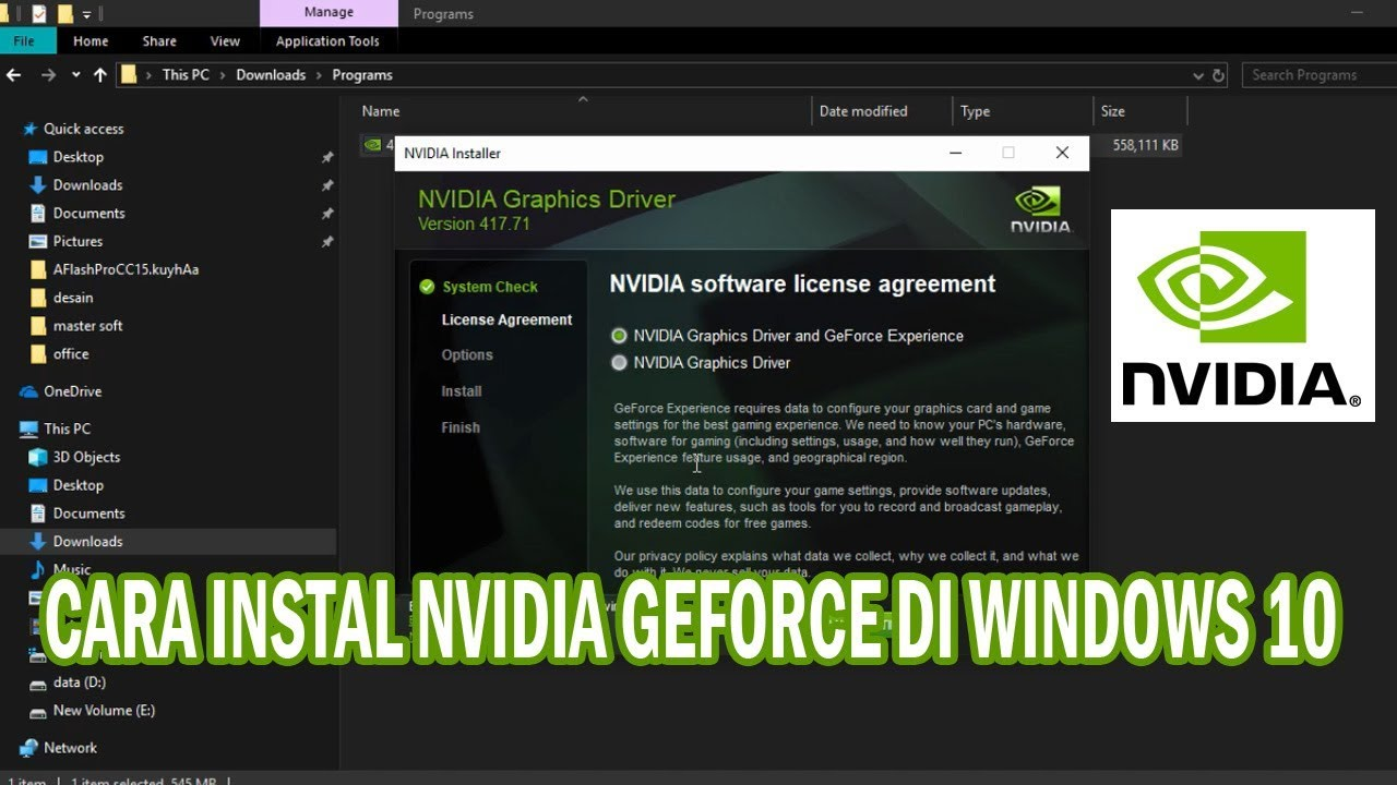 how to install nvidia drivers on windows 10