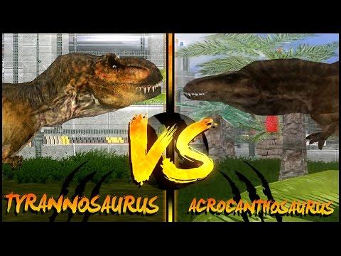 Dinosaur Battles - Tyrannosaurus Vs Acrocanthosaurus | Jurassic Park : Operation Genesis