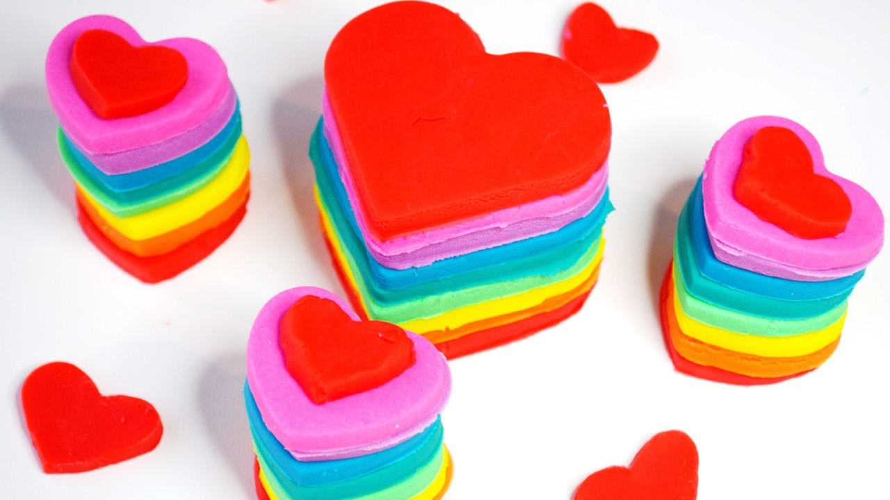 Play Doh Hearts In Rainbow Colours For Valentines Day Playdoh Fun Activity For Kids