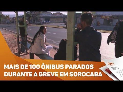 Mais de 100 ônibus parados durante a greve em Sorocaba - TV SOROCABA/SBT