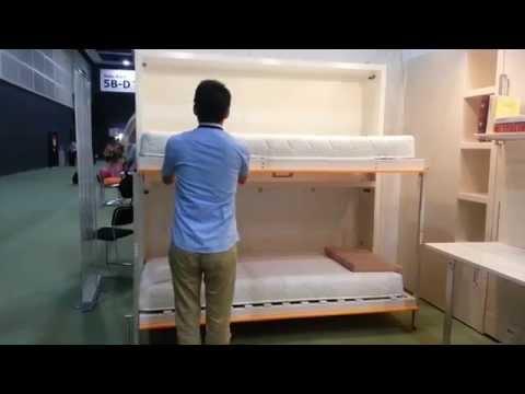 Space saving bunk wall bed