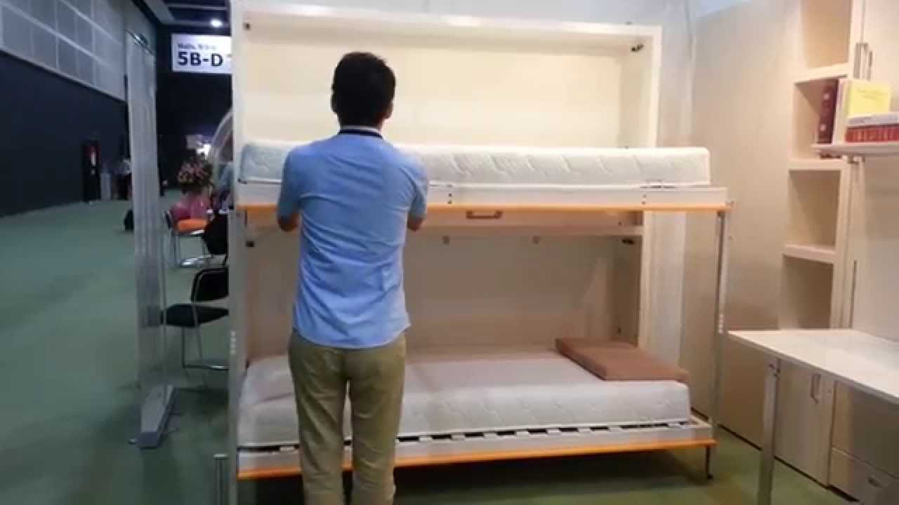 Space Saving Bunk Wall Bed YouTube - Murphy bed couch ideas space savers