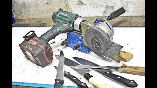 DIY Machine for Sharpening Knives from Cordless Drill and Old Angle Grinder