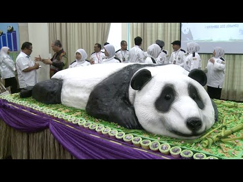 Malaysian Zoo Makes Giant Cake to Celebrate Birthday of Giant Pandas