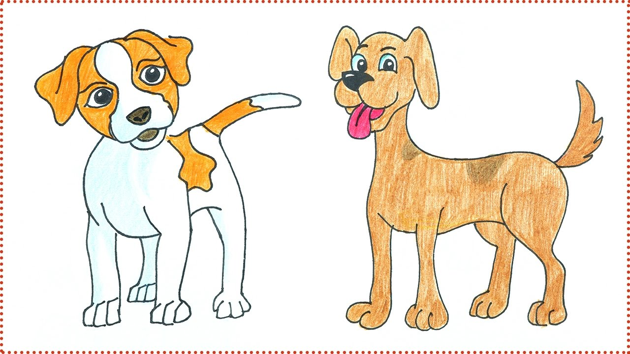 Easy Dog Drawing How To Draw A Dog For Kids Dog Drawing Video