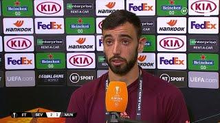 Bruno Fernandes explains argument on pitch with Victor Lindelof vs Sevilla