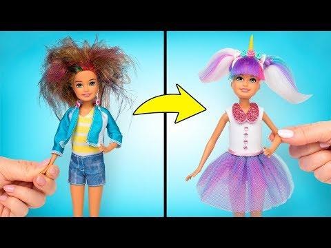 Barbie: Transformación Al Estilo L.O.L Unicornio, Cabello Incluido🦄💇🏼♀