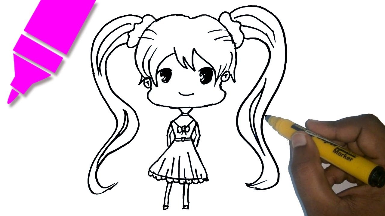 How to draw a chibi anime girl character tutorial easy step by step drawing for kids