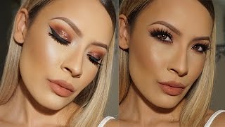 Copper Bronze sparkle Holiday Makeup Look - Desi Perkins Thumbnail