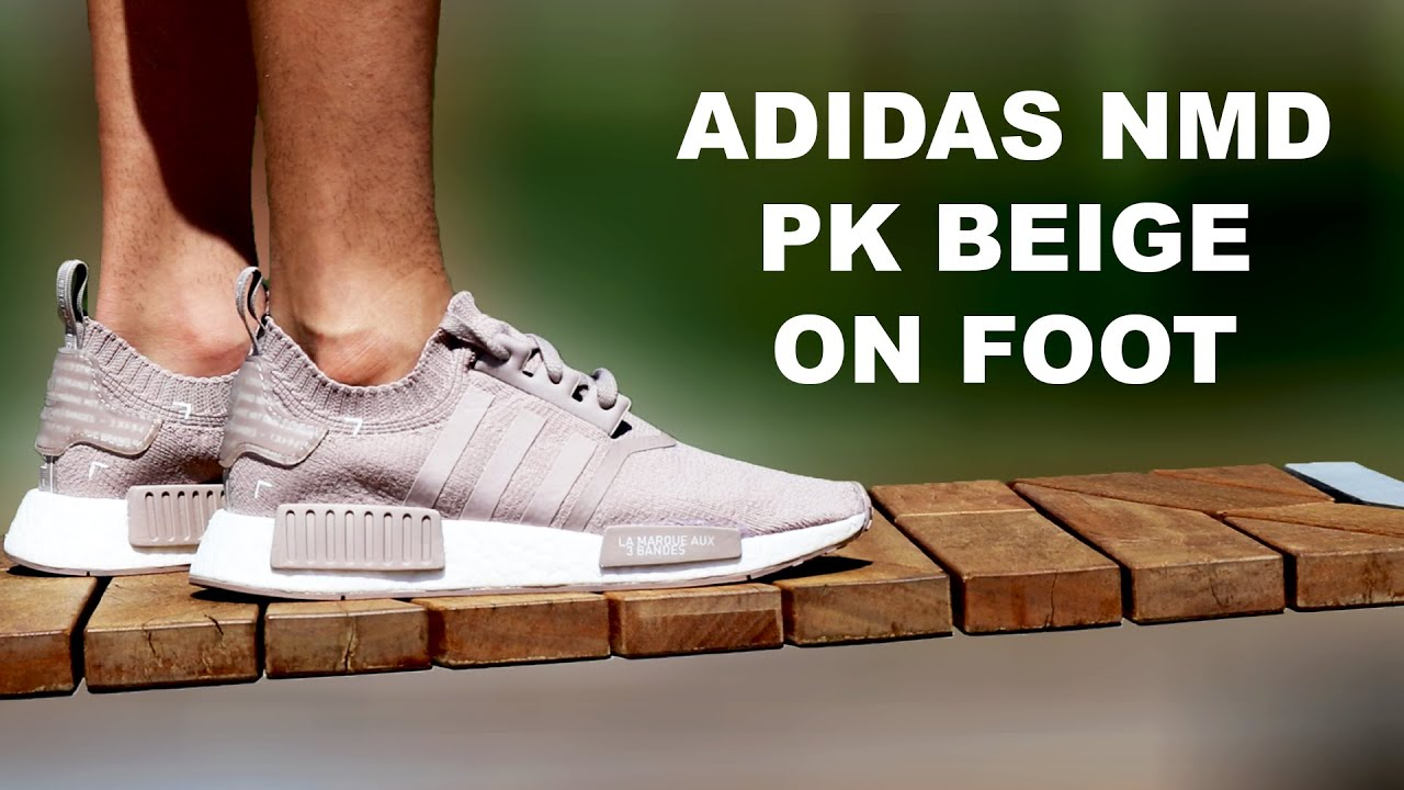 809e437d5 Adidas NMD Primeknit Beige on foot - YouTube