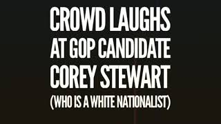 Crowd laughs at GOP candidate and white nationalist Corey Stewart in a debate with Tim Kaine