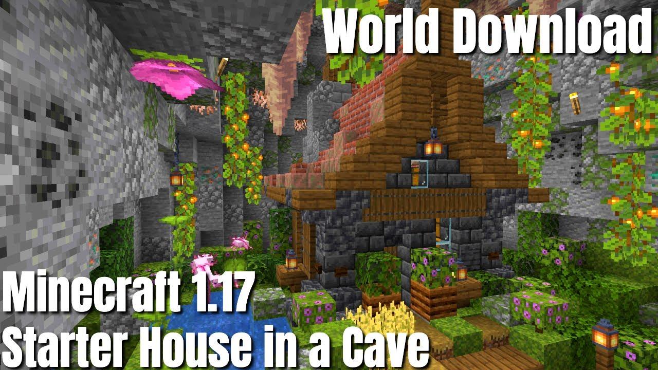 Minecraft 1.17 Starter House | Minecraft Caves & Cliffs Part 2 | Cave Base (2021) World Download
