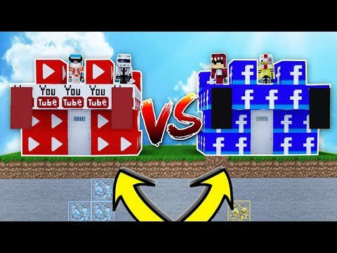 CASTILLO DE YOUTUBE VS CASTILLO DE FACEBOOK 😱!! - MINECRAFT BATALLA DE CASTILLOS