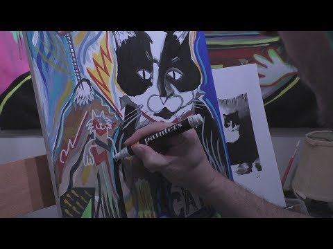 Cat Art Acrylic Painting Time Lapse by RAEART 2018