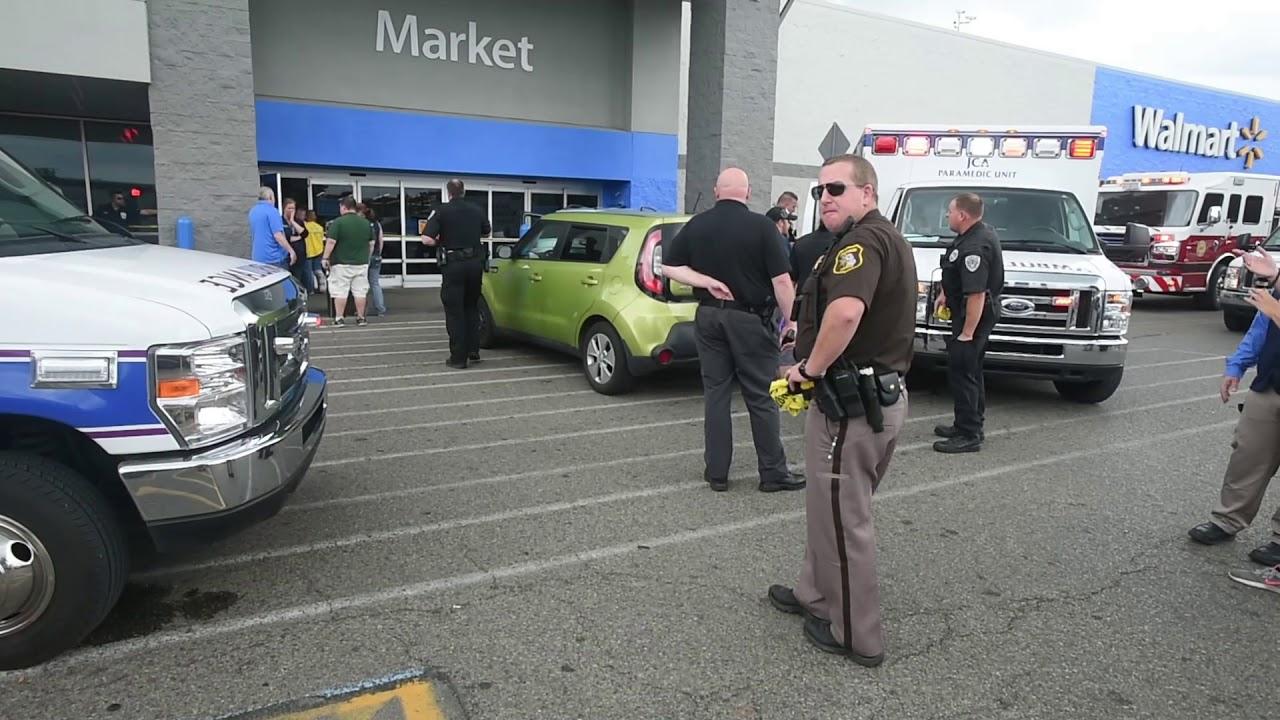 Car pedestrian crash in front of Jackson Walmart