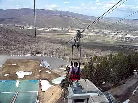 Park City Utah Zip Line Ride At Olympic Village Park Youtube