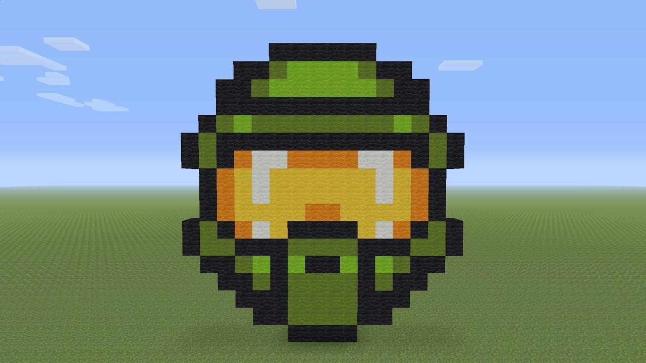 Minecraft Pixel Art Master Chief Helmet