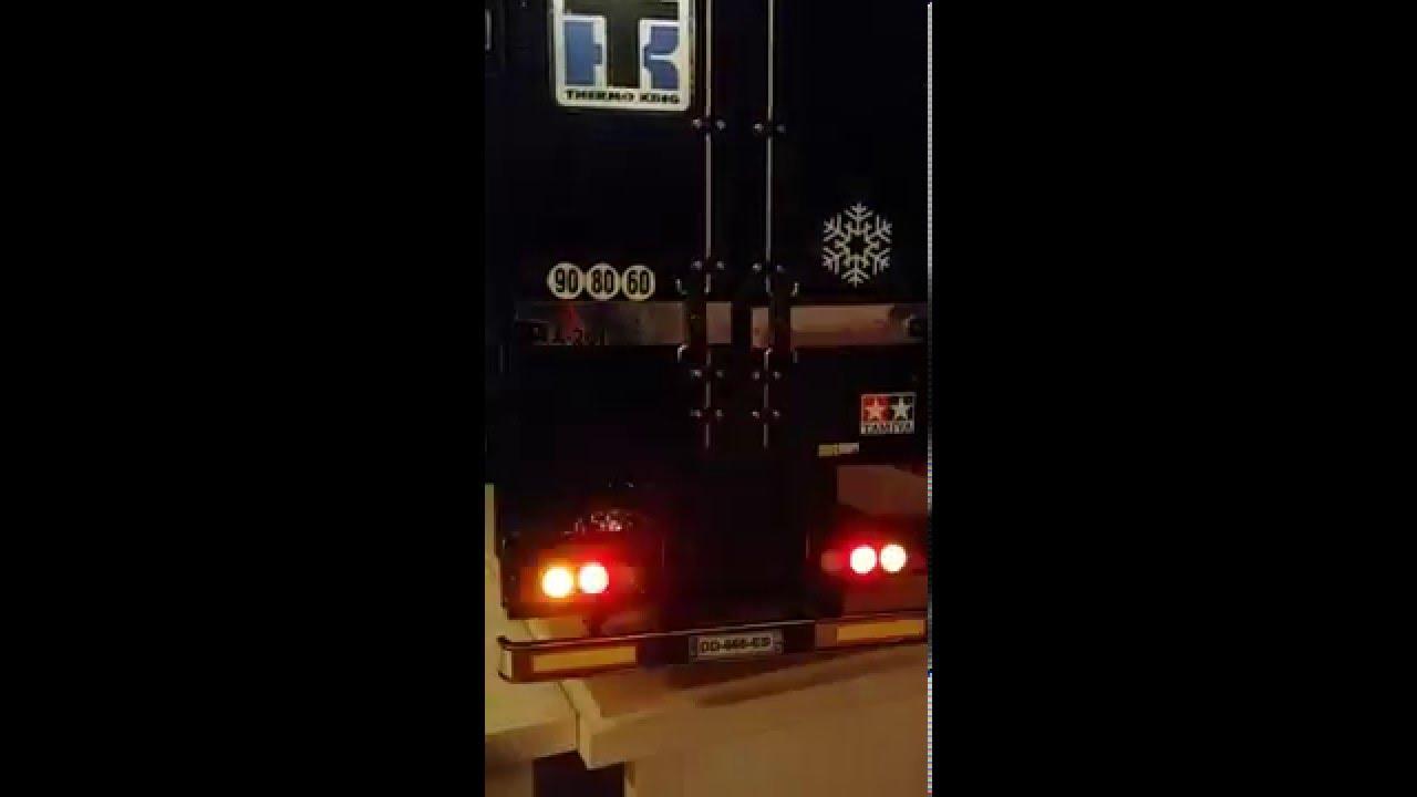Test Tamiya reefer trailer lights with OB1Rc V3.1S module - YouTube