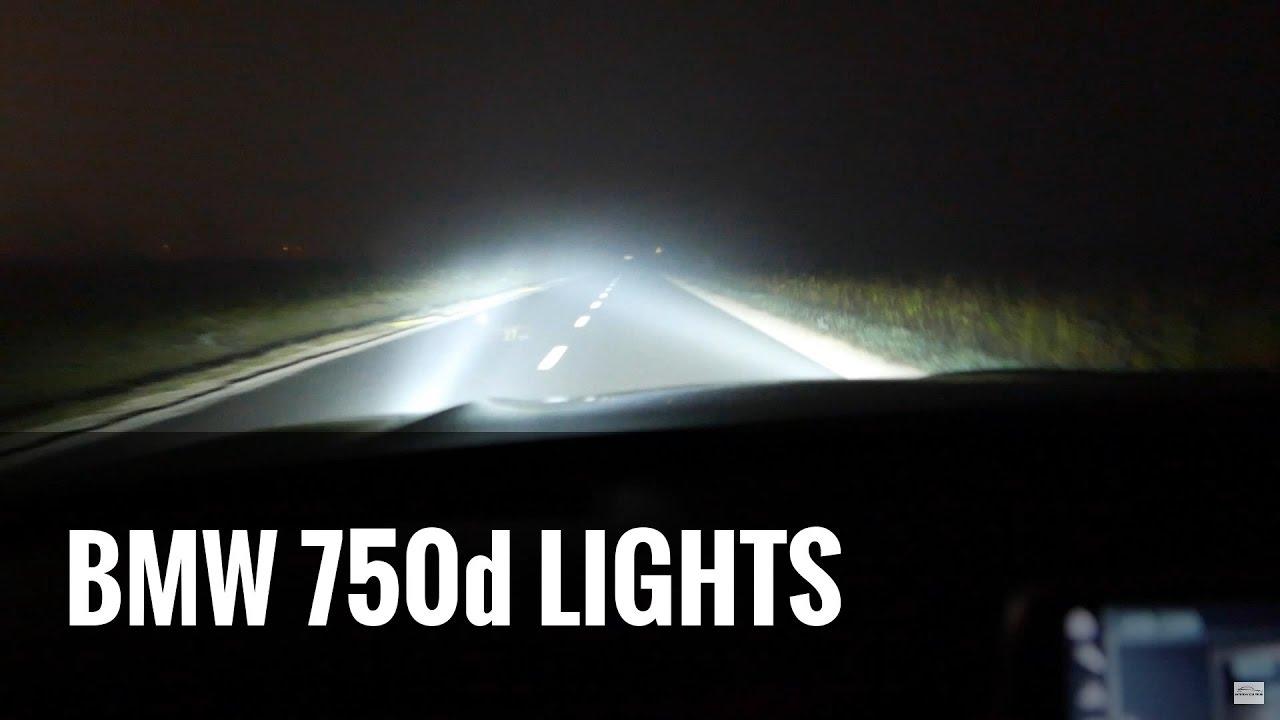 2017 BMW 7 Series G11 Lights Test 750d  PO CO KOMU 400 koni ILE