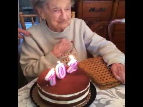 102 Year Old Grandma Blow Out Her Teeth While Celebrating Her
