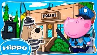 Гиппо 🌼 Детский полицейский участок 🌼 Бандит Грустный Надуватель 🌼 Мультик игра для детей (Hippo)