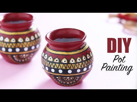 POT PAINTING IDEAS | EASY Pot Painting Using Acrylic | Pot Painting for Beginners