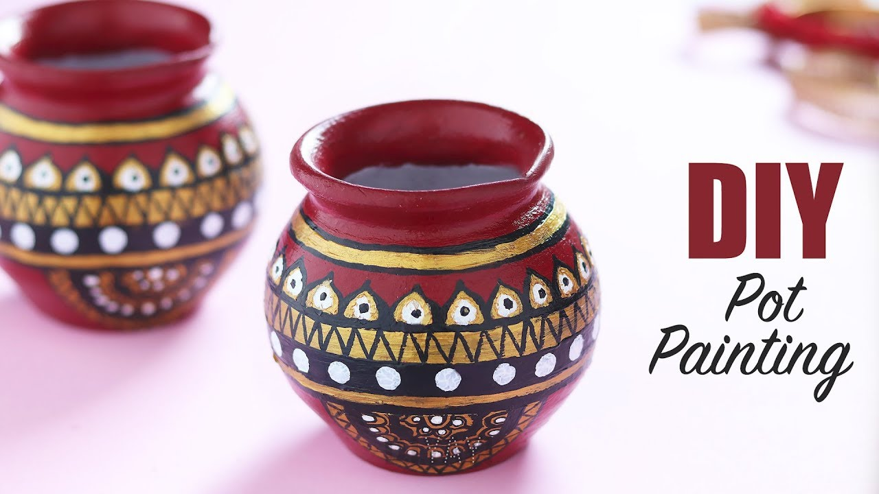 Pot Painting Ideas Easy Pot Painting Using Acrylic Pot Painting For Beginners Youtube