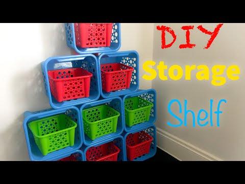 DIY Storage Shelf Style #2   Kids Toy Organizer    Dollar Tree