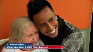 Aos 100 anos, dona Philomena conhece o CT do São Paulo