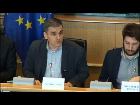 Greek Finance Minister Euclid Tsakalotos at ECON Committee - EU Parliament