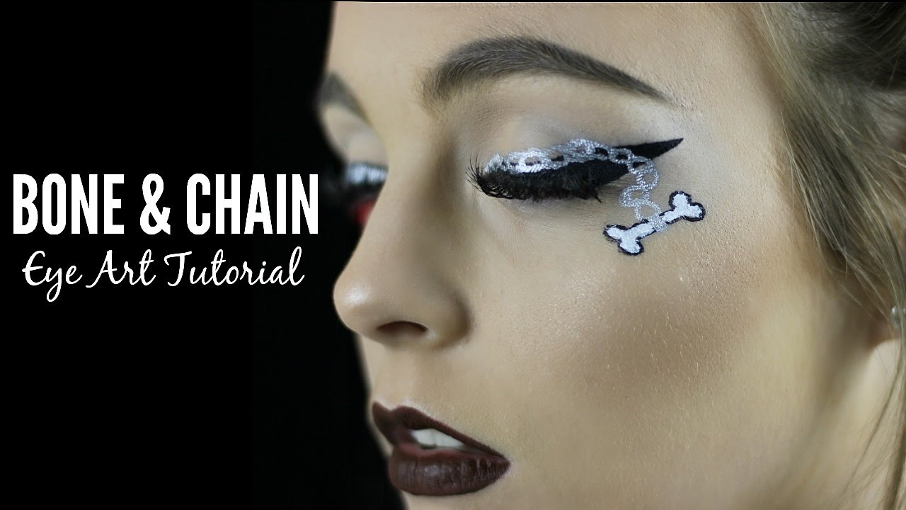 Bone & Chain Eyeliner || Halloween Makeup Tutorial - YouTube