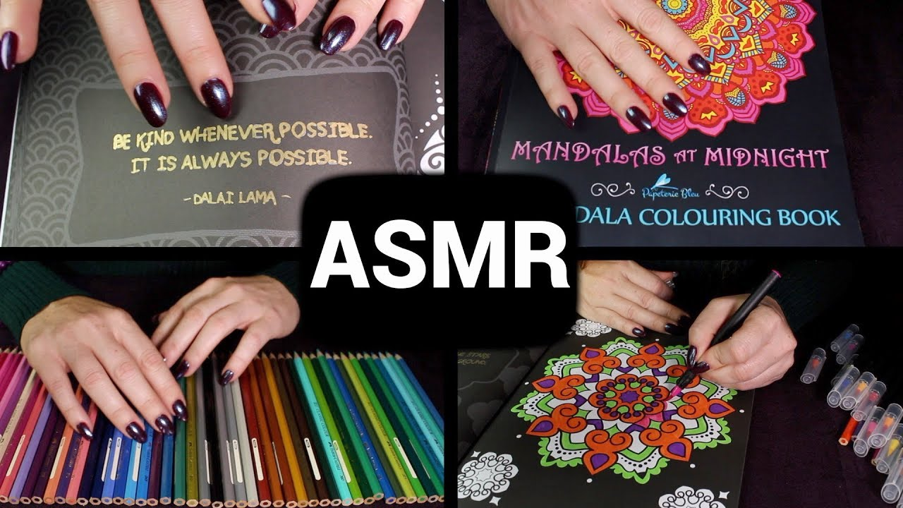 Asmr No Talking 2 hours coloring in ✏️ asmr 🌟 no talking / unintelligible whispers /  sleepy layering