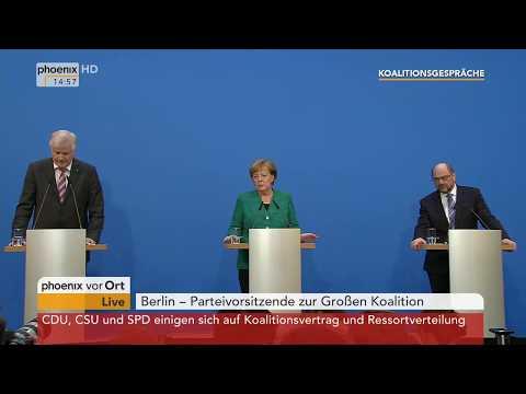 Angela Merkel, Martin Schulz und Horst Seehofer zur Einigung beim Koalitionsvertrag