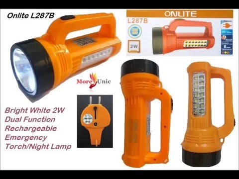 Onlite L287B Bright White 2W Dual Function Rechargeable Emergency Torch/Night Lamp