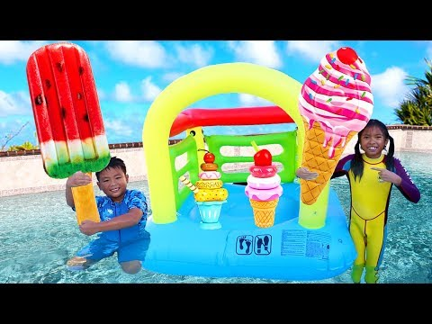 Wendy & Friends Pretend Play with Ice Cream Kids Toys by the Pool