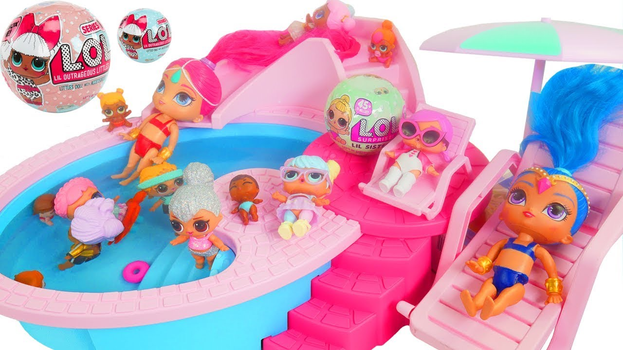 Shimmer And Shine Game At Barbie Pool With Lol Doll Youtube