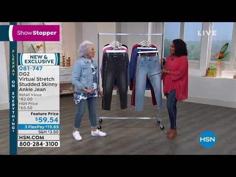57b0b294 DG2 by Diane Gilman Virtual Stretch Studded Skinny Ankle... - YouTube