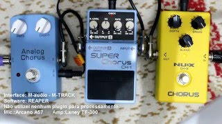 NUX CHORUS CH-3 vs Boss SUPER CHORUS CH-1 vs JOYO Analog Chorus pedal comparison