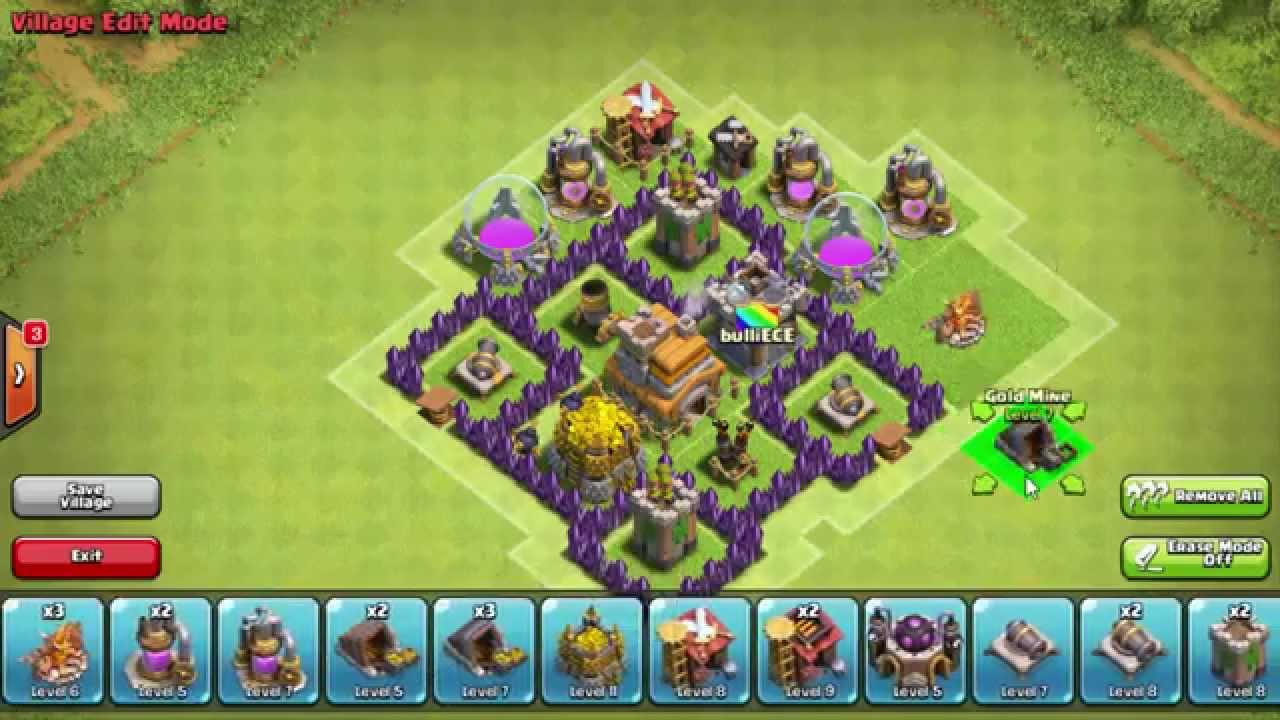 Best effective Town Hall 4 Trophy/War Base - Clash of Clans - YouTube
