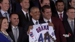 President Obama welcomes World Series c...