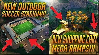 *New* Shopping Cart Mega Ramps And Outdoor Soccer Stadium In Fortnite Battle Royale (Patch V4.4)