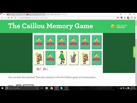 caillou matching game sprout