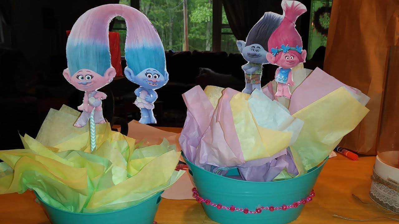 Diy Trolls Birthday Party Centerpieces Home Grown Love 05 25 17