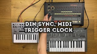How To Sync Drum Machines And Sequencers Via DIN SYNC, MIDI, CV/GATE And TRIGGER CLOCK!