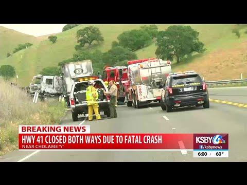 Deadly crash sparks vegetation fire, closes Hwy 41 near Hwy 46 - YouTube